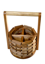 Load image into Gallery viewer, The Weaver's Nest Wishing Well Teak Wood Cutlery Holder for Dining Table