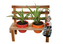 Load image into Gallery viewer, The Weaver's Nest Wooden Bench Planter with Ceramic Pots for Home and Garden