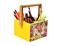 Load image into Gallery viewer, Colorful Floral Yellow Wooden Kids Stationery Cum Colors Storage Caddy and Mesh Desktop Office Pen Pencil Holder Study Storage - The Weavers Nest