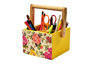 Colorful Floral Yellow Wooden Kids Stationery Cum Colors Storage Caddy and Mesh Desktop Office Pen Pencil Holder Study Storage - The Weavers Nest