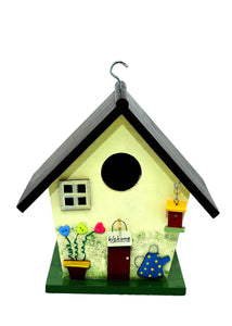 The Weaver's Nest Weatherproof Large Solid Wood Bird House with Watering Can for Outside Hanging Garden Décor Yellow (26X19X29 cm)