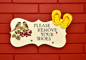 Wooden Plaque, Remove Your Shoes, Wall Sign Hanging, Plate - The Weaver's Nest
