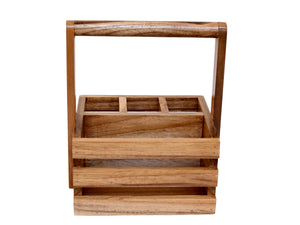 The Weaver's Nest Wooden Table Utility Cutlery Holder/Caddy with Handle for Spoons, Forks, Knives Organiser for Dining Table, Kitchen and Restaurants