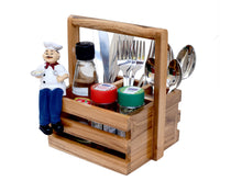 Load image into Gallery viewer, The Weaver's Nest Wooden Table Utility Cutlery Holder/Caddy with Handle for Spoons, Forks, Knives Organiser for Dining Table, Kitchen and Restaurants