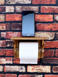 The Weaver's Nest Teak Wood Wall Mounted Toilet Paper Holder with Shelf for Restaurants, Hotels, Bathrooms and Washrooms.