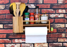 Load image into Gallery viewer, The Weaver's Nest Wooden Towel Holder/Rack with Shelf and Spoons, Forks, Knives Organiser for Kitchen, Restaurants, Hotels and Washroom