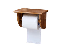 Load image into Gallery viewer, The Weaver's Nest Teak Wood Wall Mounted Toilet Paper Holder with Shelf for Restaurants, Hotels, Bathrooms and Washrooms.