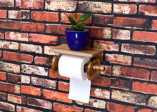 Load image into Gallery viewer, The Weaver's Nest Teak Wood Wall Mounted Toilet Paper Holder with Shelf for Restaurants, Hotels ,Bathroom and Washrooms.