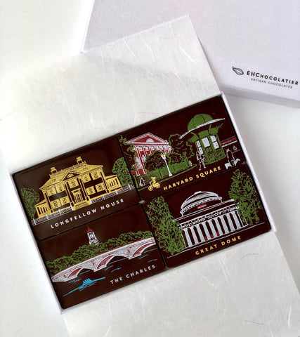 Cambridge Icon Gift Box, organic dark chocolate (Peru) tiles decorated with images of Harvard Square, Longfellow House, The Great Dome of MIT, and the Charles river