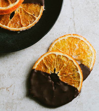 Dark Chocolate Dipped and dried Organic Orange Slices