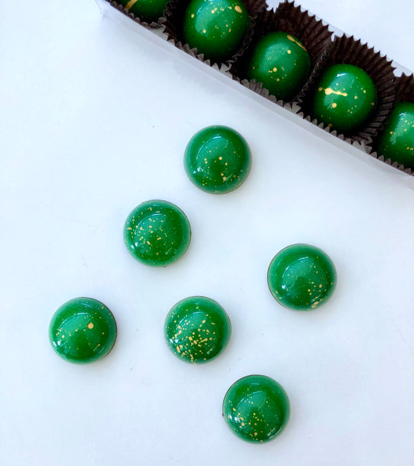 Jameson Whiskey, Yuzu, Honey in Green and gold flecked glossy chocolate domes