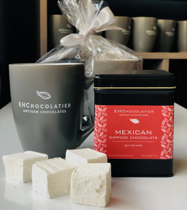 Sipping chocolate, marshmallows and mug gift set