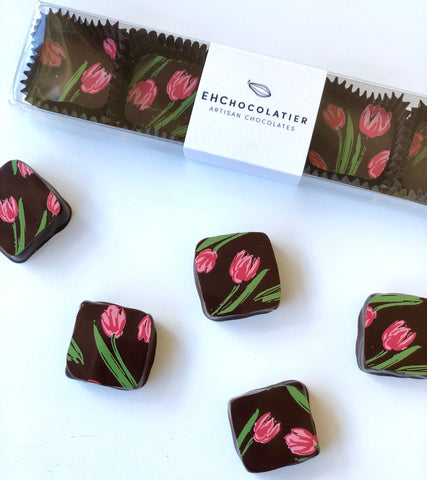 Pink Tulips for a Cause 67% Sao tome dark chocolate bonbons