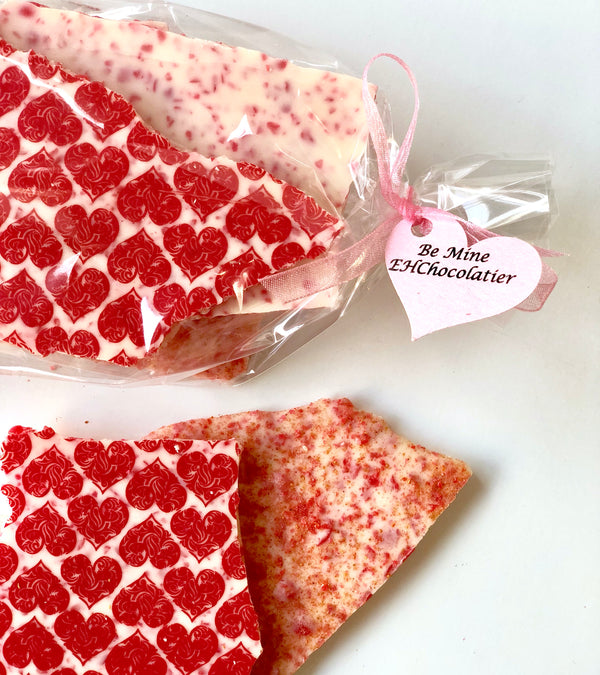Red Hot Crunch White Chocolate Bark with cinnamon and cayenne with beautiful red heart decor