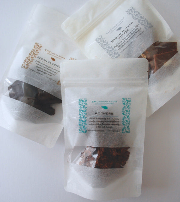 Dark Chocolate bourbon caramel maple roasted pecan cluster (turtle) in Rice Bags make a great care package gift!