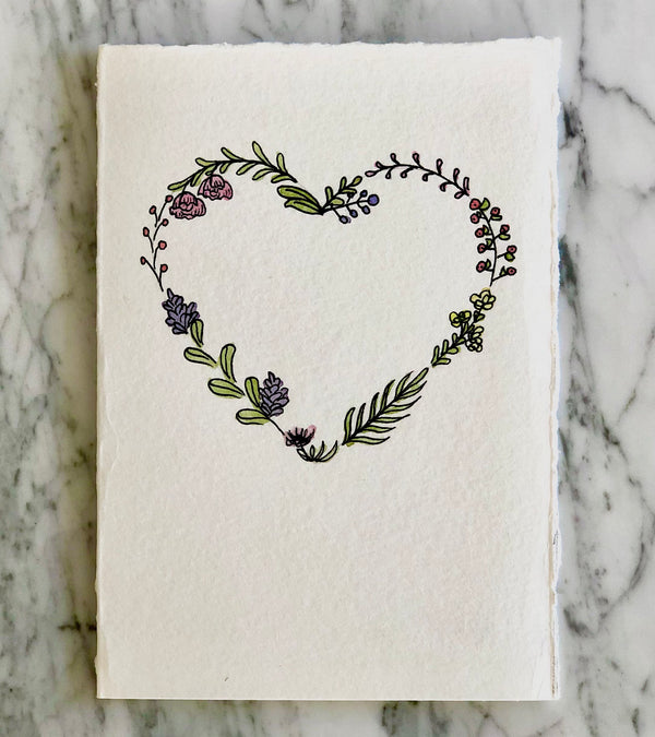 Floral Heart Ink & Watercolor Card