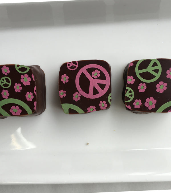PB&J Flavored Chocolates With Peace Sign Decorations