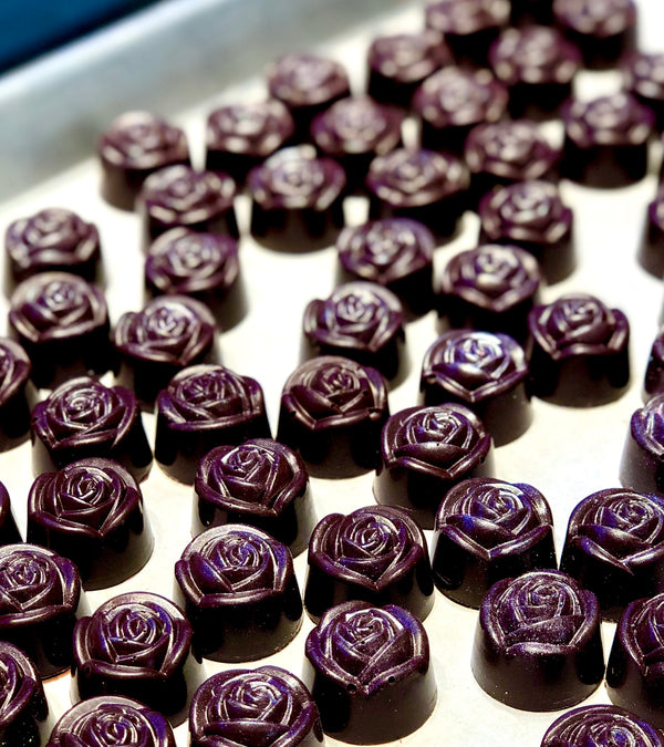 Dark Chocolate Roses filled with Strawberry Ganache