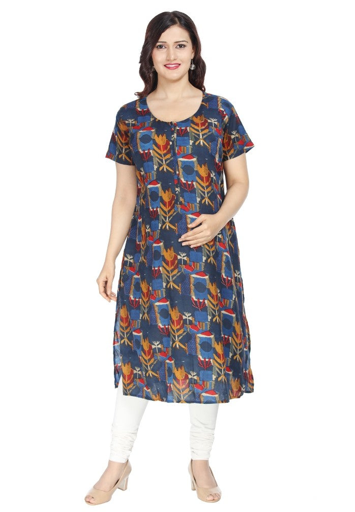 Red printed Nursing Kurta