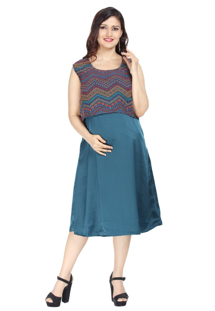 Geo Printed Maternity Dress - Royal Belly
