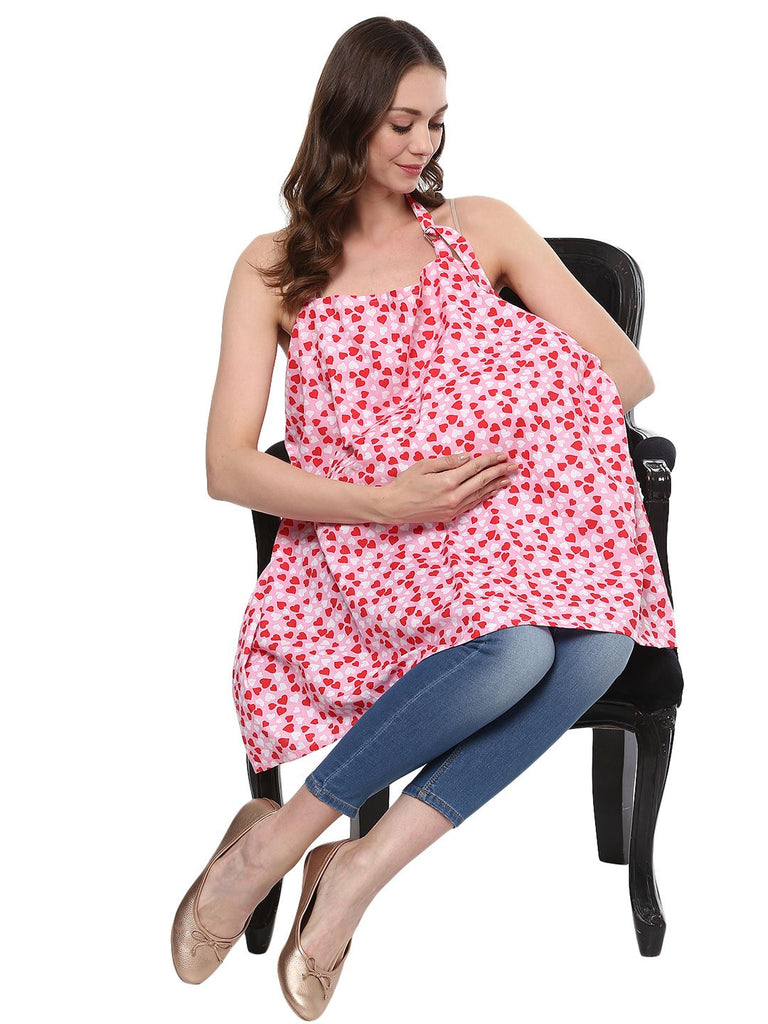 Nursing Cover Cotton Heart Print Pink