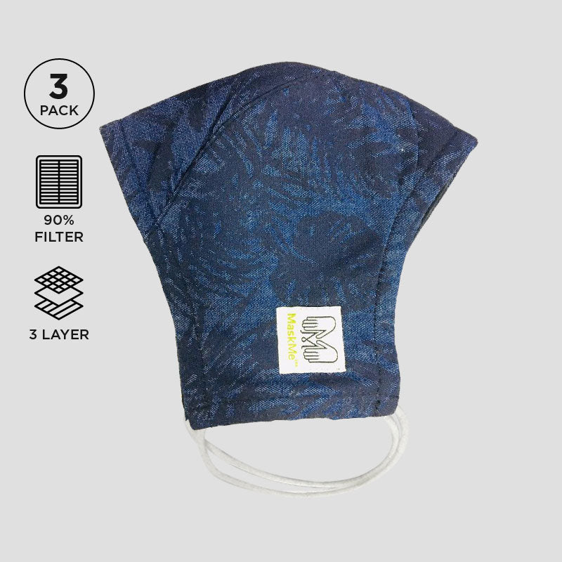 Blue Denim Printed 3-Layer Premium Protective Masks - Pack of 3