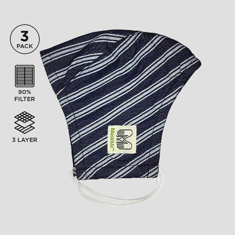 Denim Printed Stripes 3-Layer Premium Protective Masks - Pack of 3