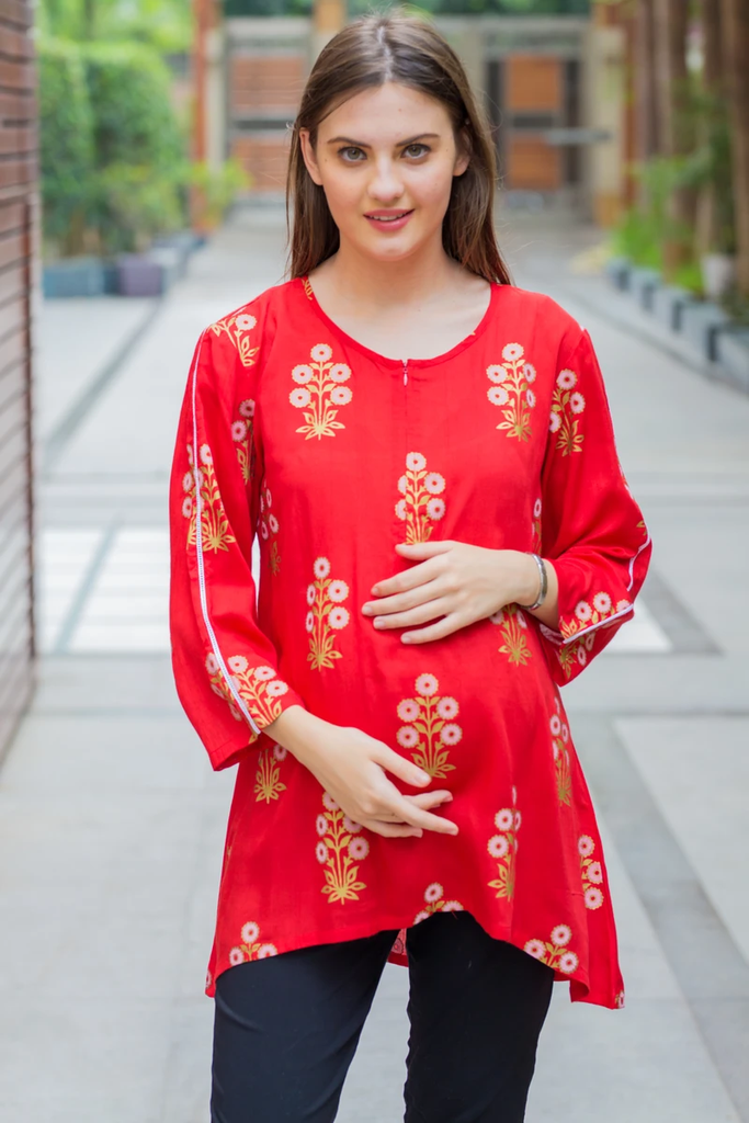 RUBY RED GOLD VISCOSE MATERNITY & NURSING TOP