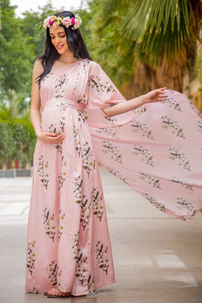 LUXE CARNATION PINK ONE SHOULDER FLORAL MATERNITY GOWN