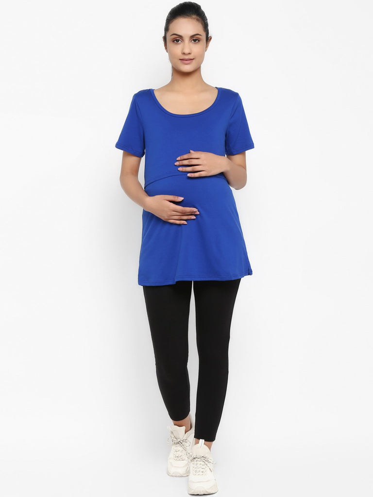 Half Sleeves Maternity Feeding T-Shirt with Over Belly Legging - Electric Blue