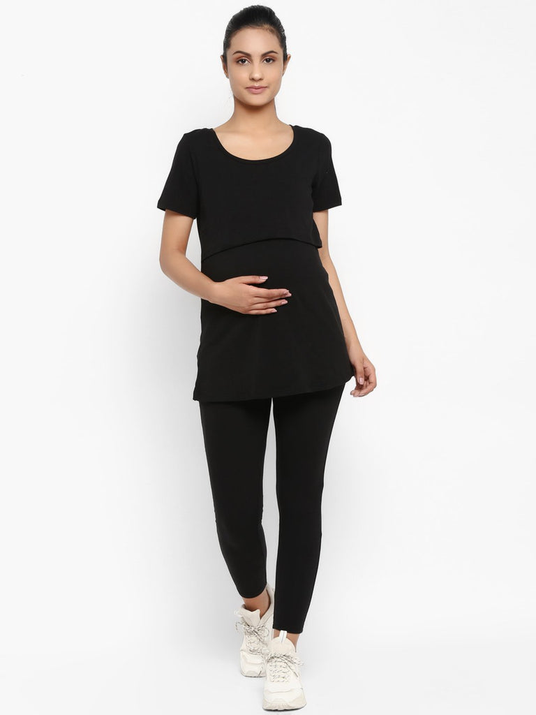 Set of Maternity Half Sleeves Feeding T-Shirt with Over Belly Legging - Black