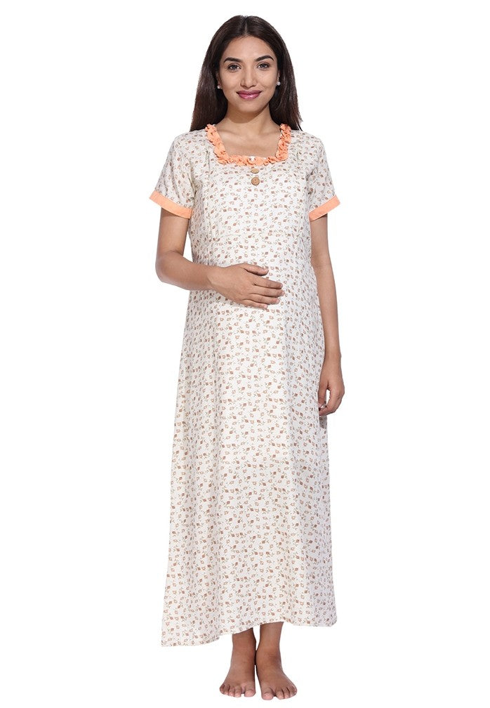 Beige Nursing Nighty