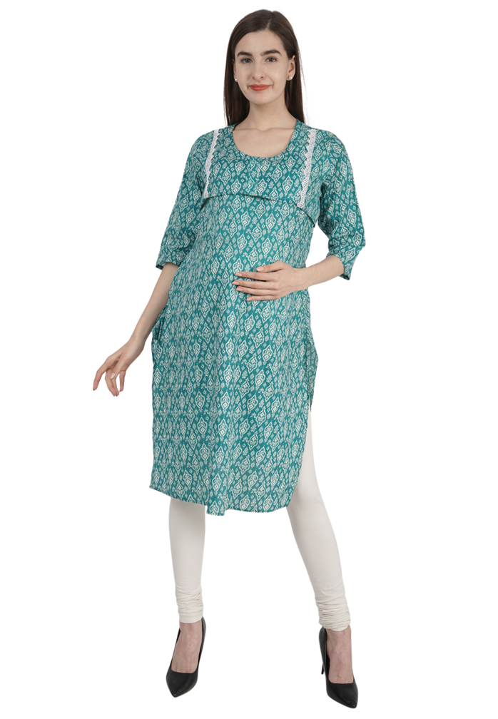 Elegant Sea Green Feeding Kurta