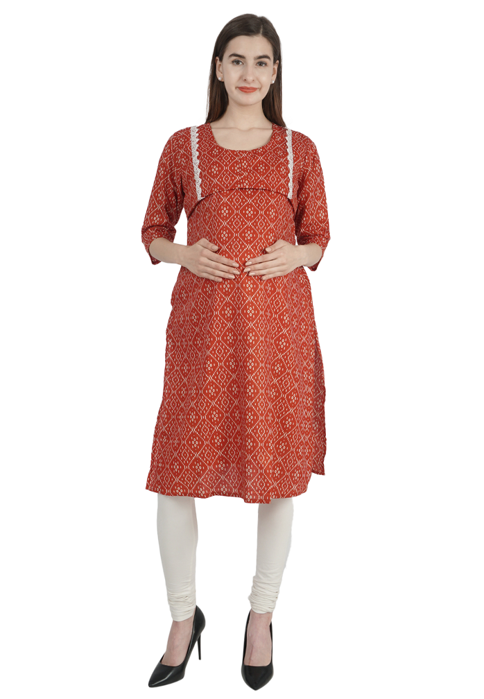 Trendy Red Printed Nursing Kurta