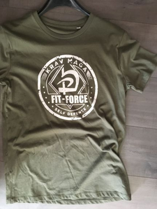 T-shirt Fit-Force streetwear uit eigen collectie - smal / kaki/wit - medium / kaki/wit - large / kaki/wit - xl / kaki/wit - xxl / kaki/wit