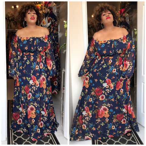 Bohemian Chiffon Plus Size Maxi in Navy Floral