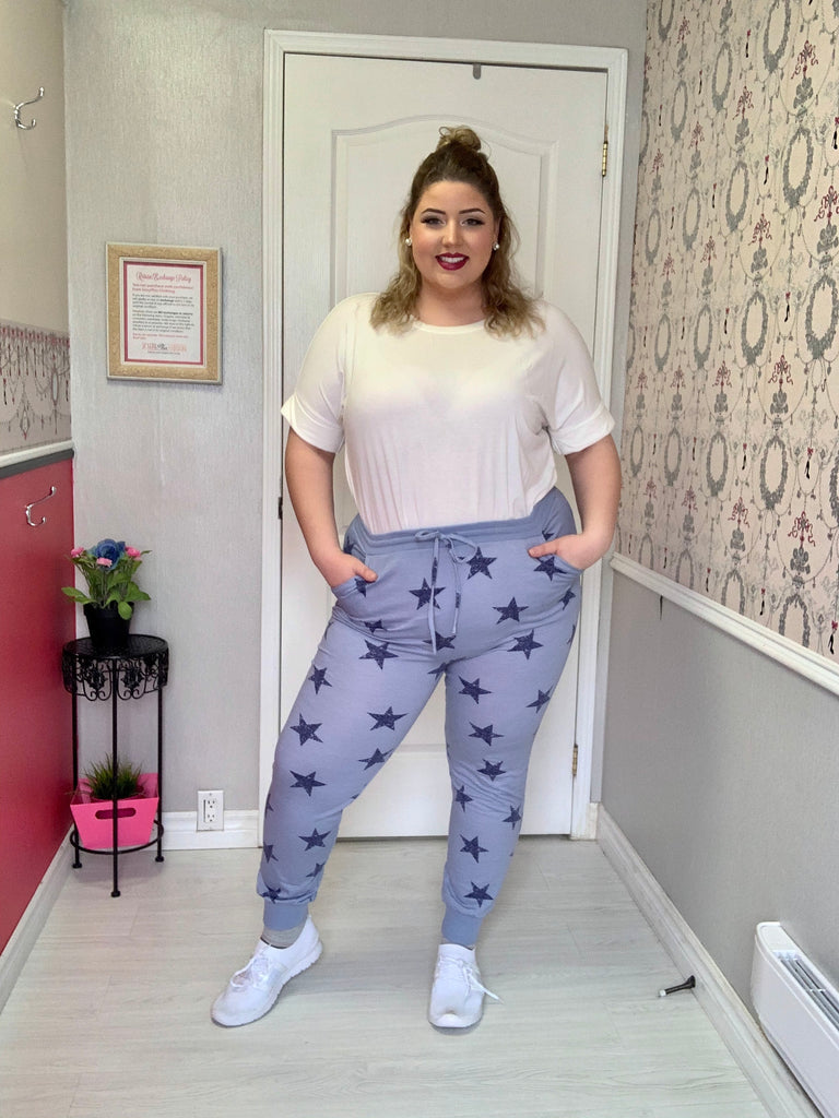 Serena Plus Size Star Print Joggers in Blue