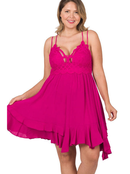 Mimi Plus Size Sleeveless Swing Dress in Grey