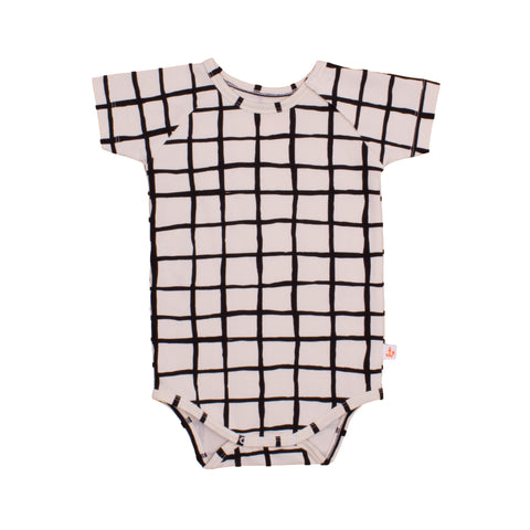Black Grid Short Sleeve Bodysuit