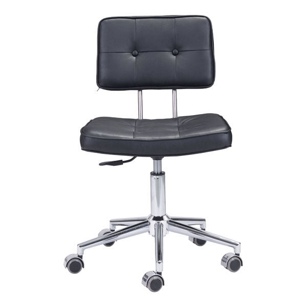 "HomeRoots Office 22.4"" X 22.4"" X 35.8"" Black Leatherette Office Chair"