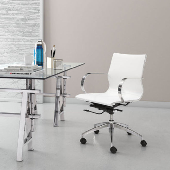 "HomeRoots Office 27.6"" X 27.6"" X 36"" White Leatherette Low Back Office Chair"