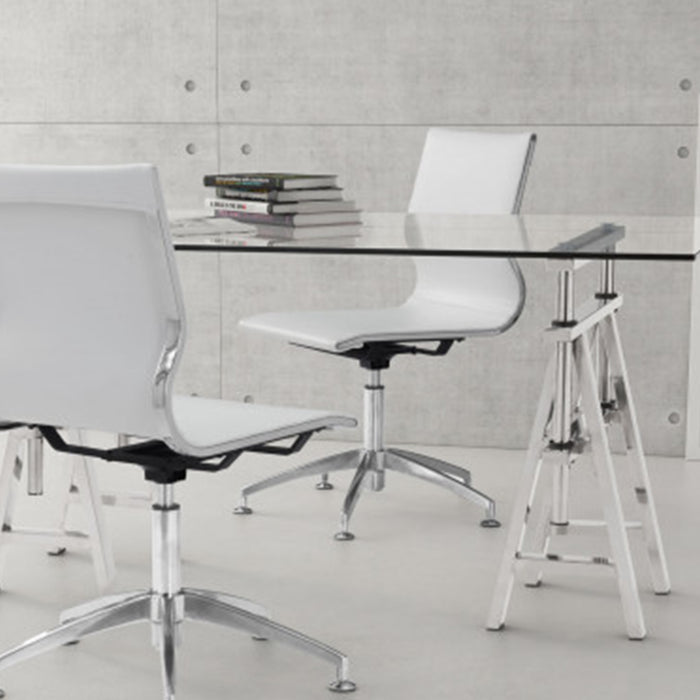 "HomeRoots Office 26"" X 26"" X 36"" White Leatherette Conference Chair"