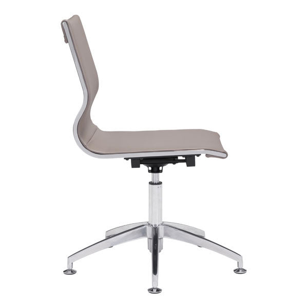 "HomeRoots Office 26"" X 26"" X 36"" Taupe Leatherette Conference Chair"