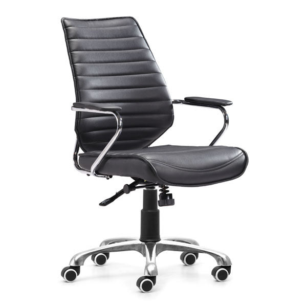 "HomeRoots Office 25"" X 23.5"" X 40.5"" Black Leatherette Low Back Office Chair"