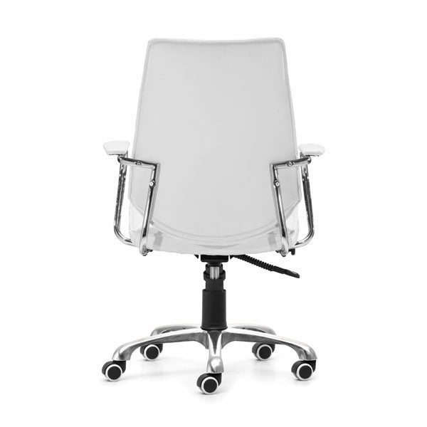 "HomeRoots Office 25"" X 23.5"" X 40.5"" White Leatherette Low Back Office Chair"