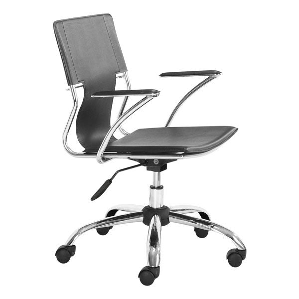 "HomeRoots Office 22"" X 23"" X 37"" Black Leatherette Office Chair"