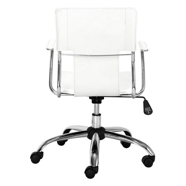 "HomeRoots Office 22"" X 23"" X 37"" White Leatherette Office Chair"