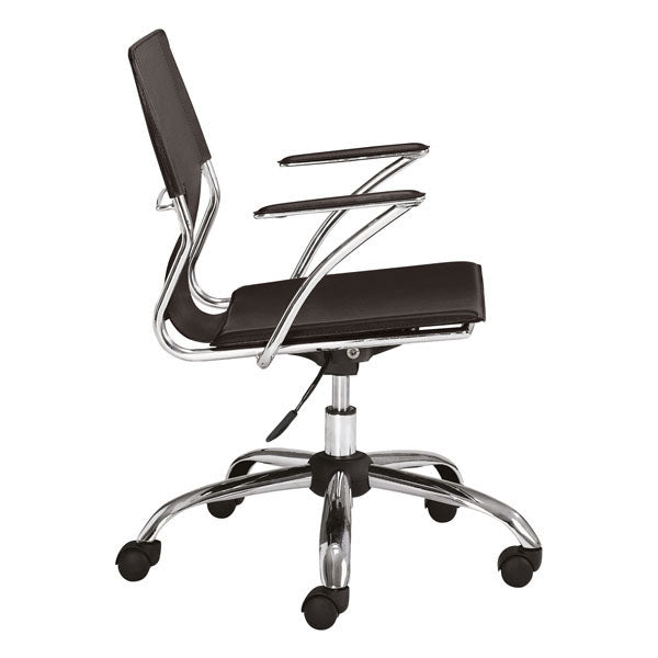 "HomeRoots Office 22"" X 23"" X 37"" Espresso Leatherette Office Chair"