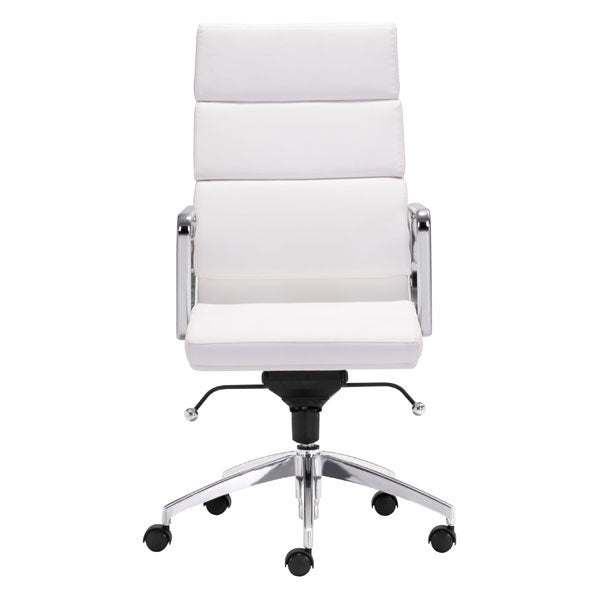 "HomeRoots Office 21"" X 26"" X 44.5"" White Leatherette High Back Office Chair"