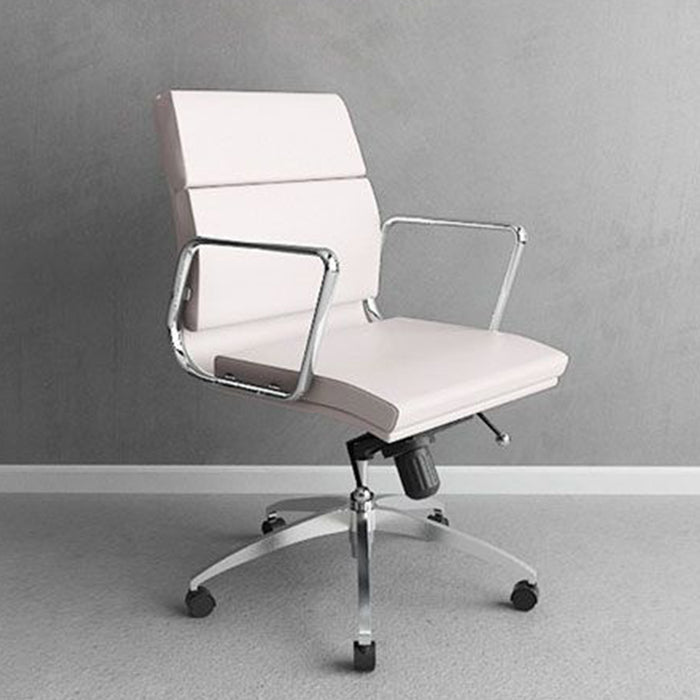 "HomeRoots Office 21"" X 26"" X 39"" White Low Back Leatherette Office Chair"